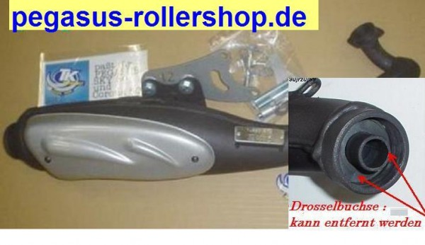 "Auspuff 50ccm Nachbau mit ""E.-Pass"" PEGASUS Roller TGB"