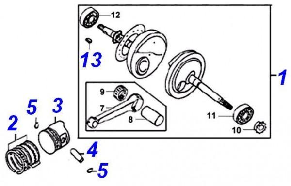 Nr. 1 Kurbelwelle kpl. inkl.7,8,9, 10, 11,12,13,