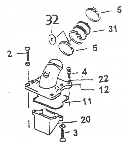 Ansaugstutzen für Luftfilter links SKY/Corona 50 bis SN